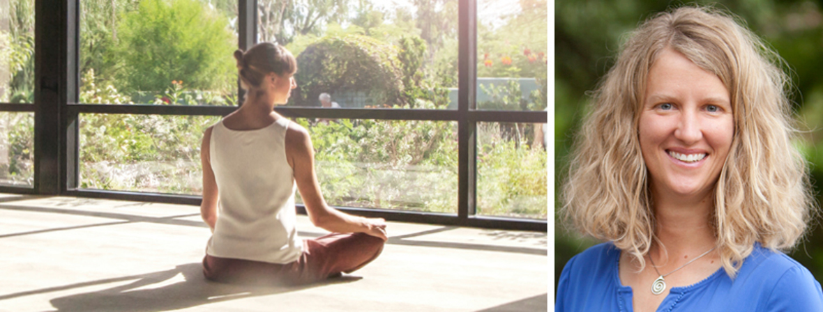 The first image is of a woman meditating. The second pictures is a headshot of Stephanie Ludwig.