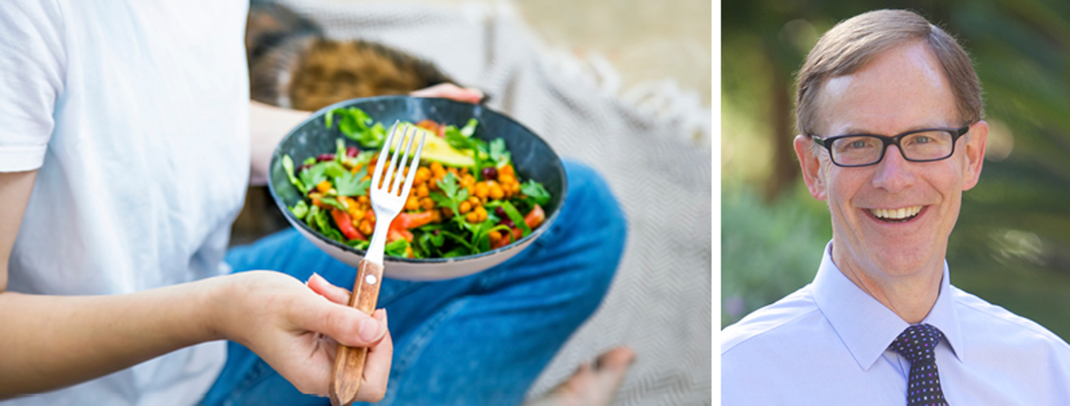 The first image is of a woman eating a salad. The second picture is a headshot of Dr. Stephen Brewer.