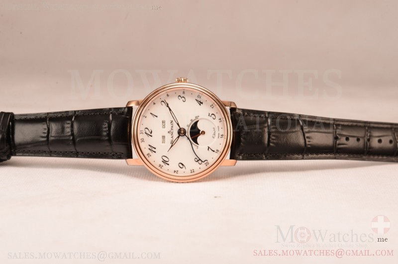 BlancPain Villeret Miyota 9015 Automatic Rose Gold Case with White Dial Arabic and Black Leather Strap (EF)