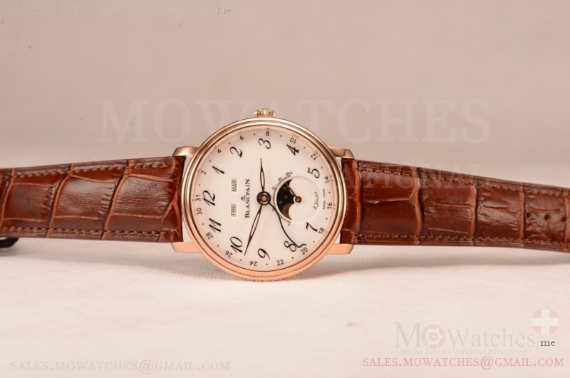 BlancPain Villeret Miyota 9015 Automatic Rose Gold Case with White Dial Arabic and Brown Leather Strap (EF)