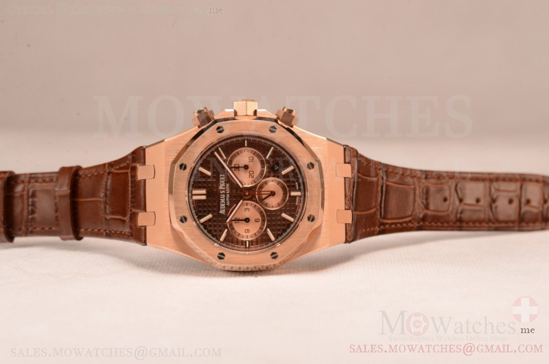 Audemars Piguet Royal Oak Chronograph Swiss Valjoux 7750 Rose Gold Case with Black Leather Strap Brown Dial and Gold Three Subdials 1:1 Original EF