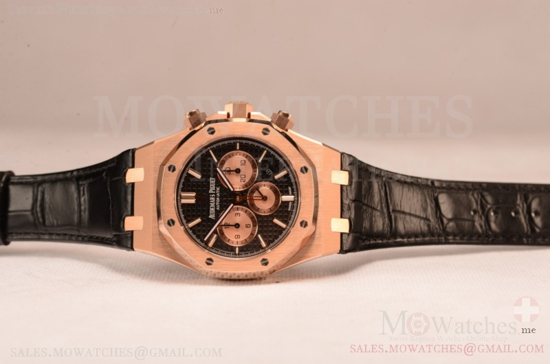 Audemars Piguet Royal Oak Chronograph Swiss Valjoux 7750 Rose Gold Case with Black Leather Strap Black Dial and Gold Three Subdials 1:1 Original EF