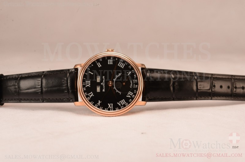 BlancPain Villeret Miyota 9015 Automatic Rose Gold Case with Black Dial Roman and Black Leather Strap (EF)
