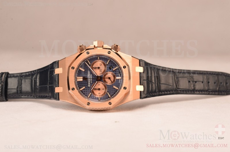 Audemars Piguet Royal Oak Chronograph Swiss Valjoux 7750 Rose Gold Case with Black Leather Strap Blue Dial and Gold Three Subdials 1:1 Original EF
