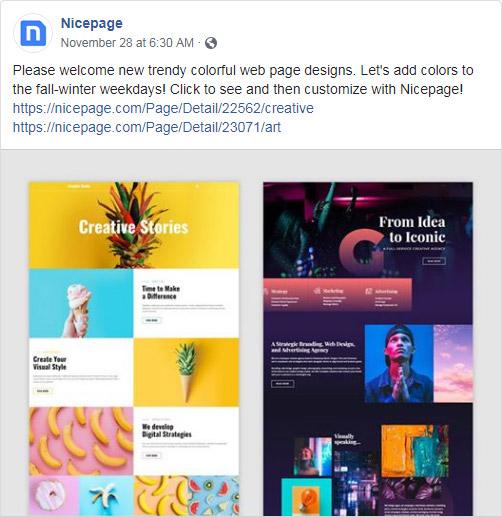 Nicepage Facebook account