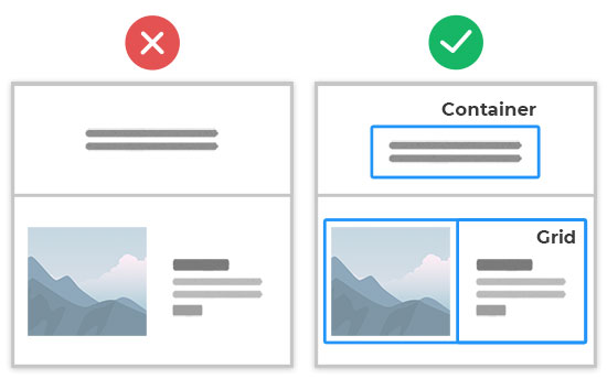 Add Containers and Grids to your sections