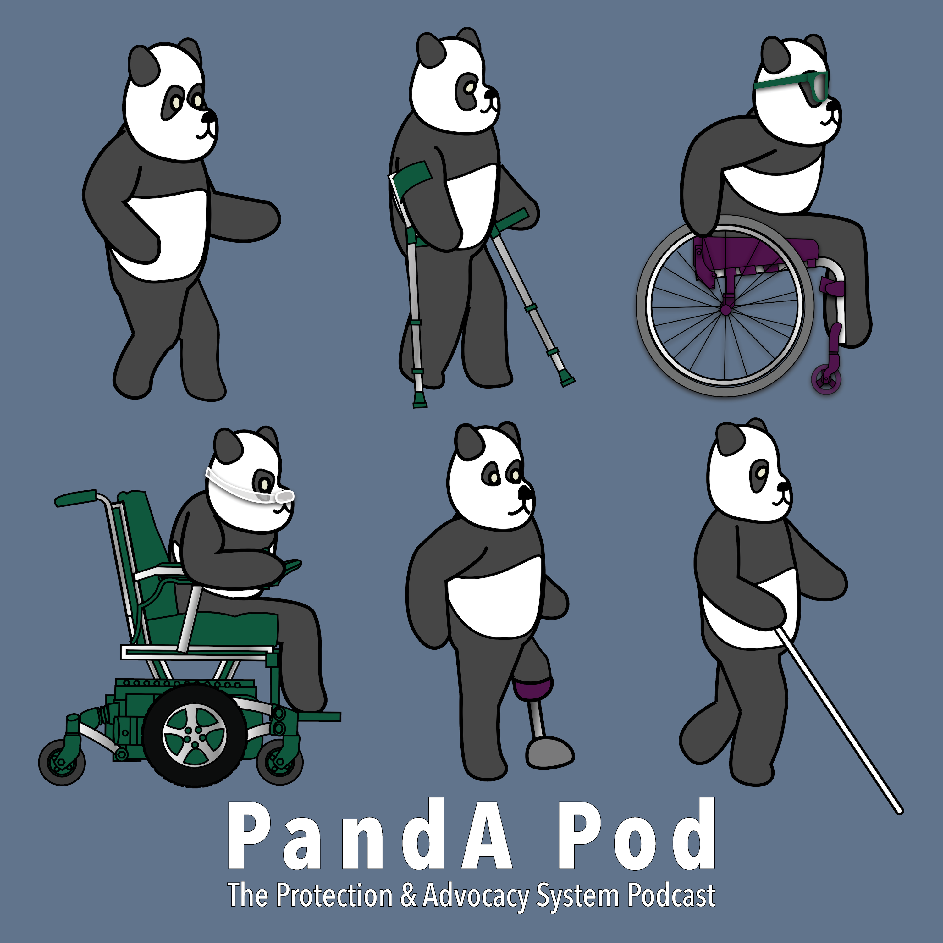 Profile of six pandas with different disabilities facing the right. One with no apparent disabilities, one with crutches, one uses a manual wheelchair wearing sunglasses, one uses a power wheelchair wearing a mask over its nose, one has a prosthetic limb and one uses a white cane. Artist Mike Mort.