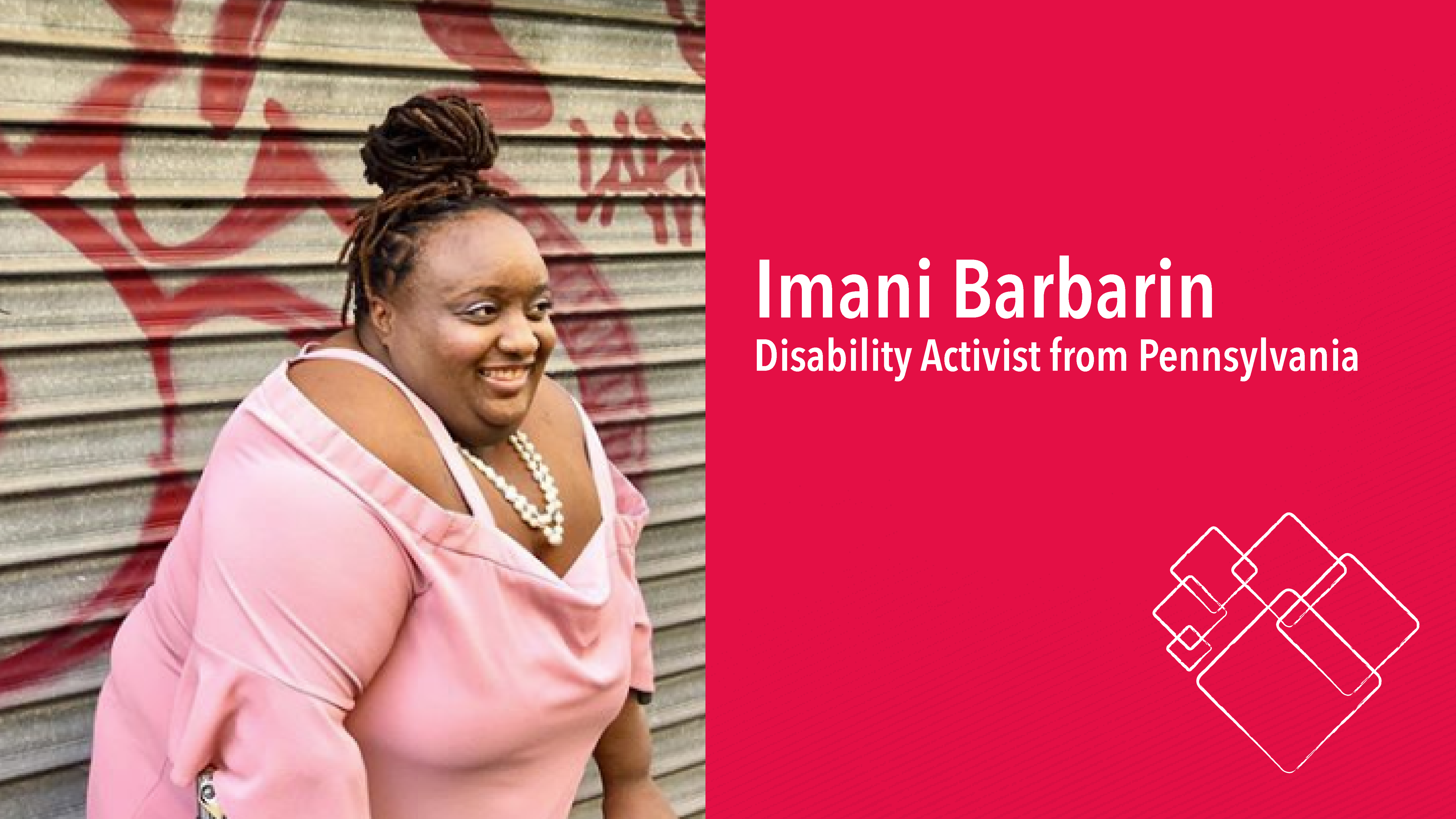 Imani, an African American woman, leans against her crutches and smiles