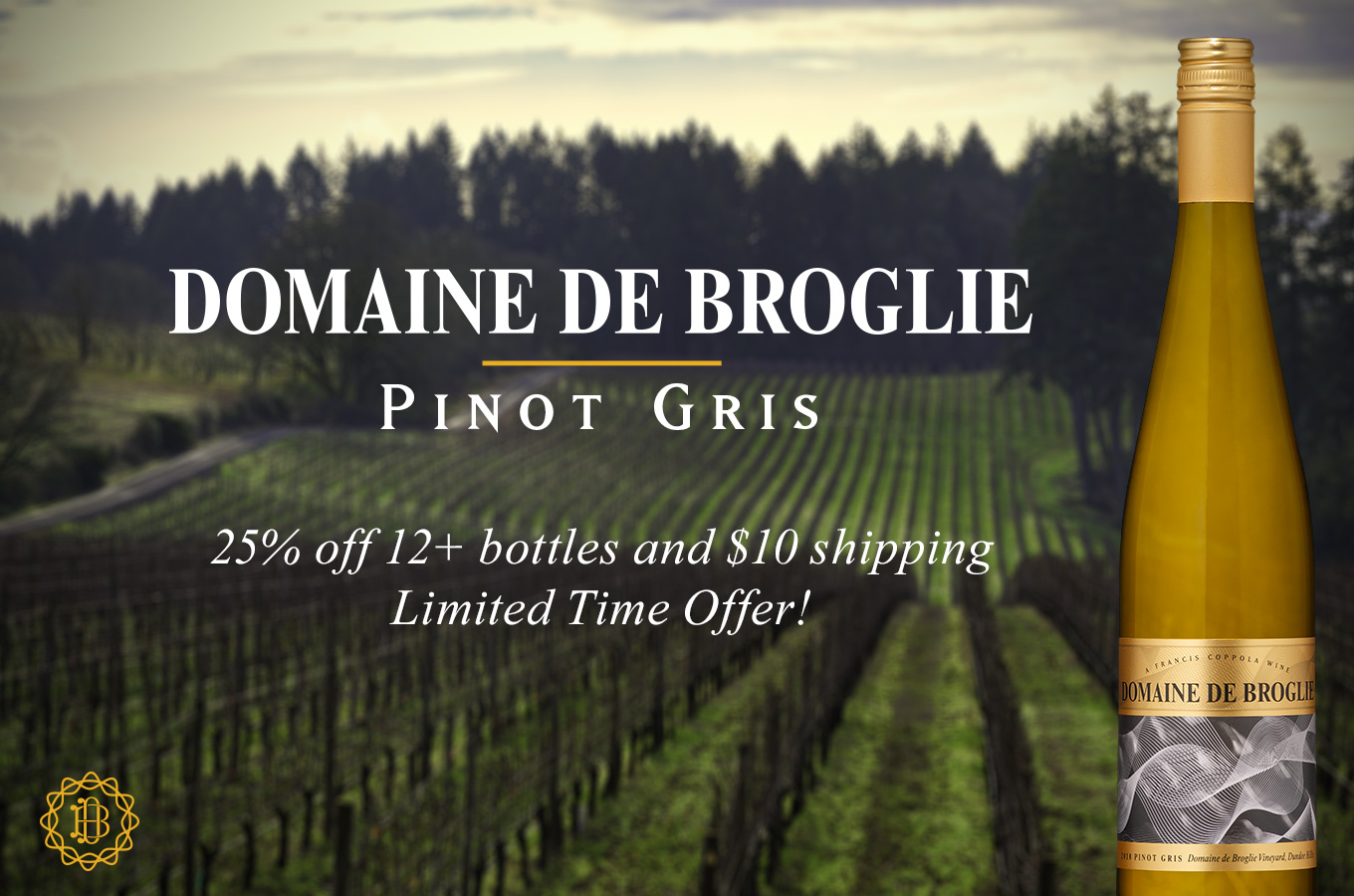 Domaine de Broglie Pinot Gris, 25% off 12+ bottles and $10 shipping!