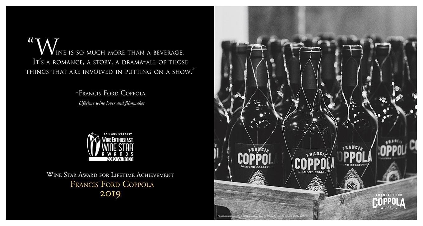 Francis Ford Coppola Receives 2019 Wine Enthusiast Lifetime Achievement Award
