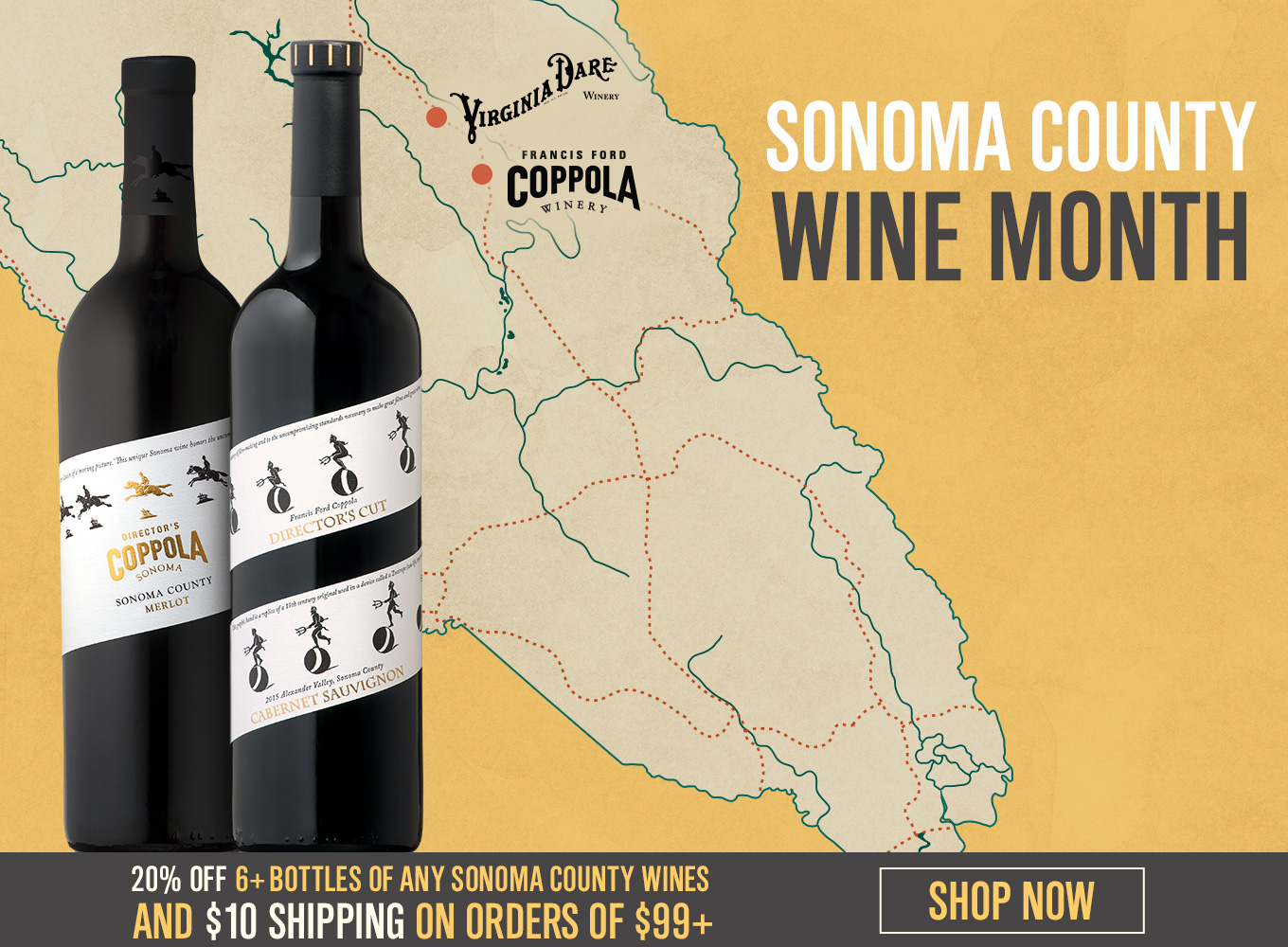Sonoma County Wine Month, 20% off 6+ Bottles of any Sonoma County Wines and $10 Shipping on Orders of $99+
