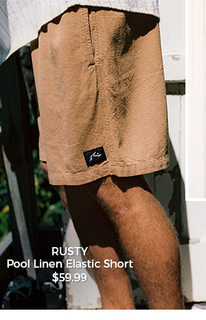 Rusty Pool Linen Elastic Short