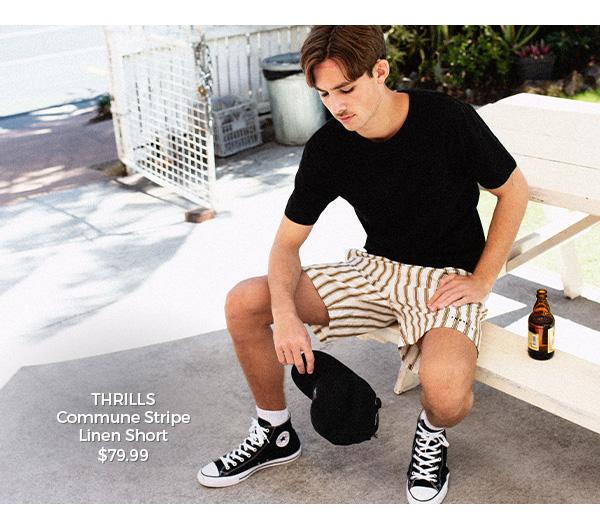 Thrills Commune Stripe Linen Short