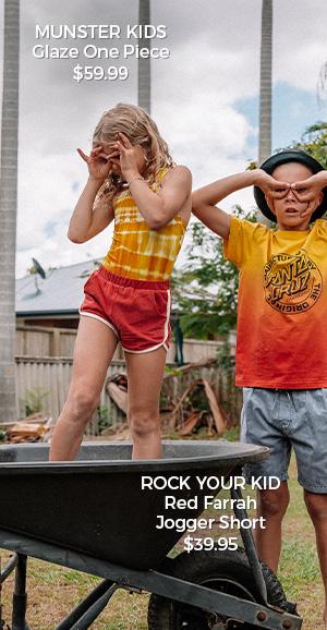 Munster Kids Glaze One Piece & Rock Your Kid Red Farrah Jogger Short