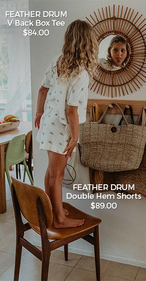 Feather Drum V Back Box Tee & Hem Shorts