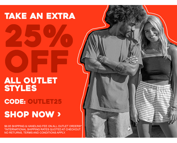 ALSO: Take an extra 25% off all outlet styles. Code: OUTLET25. Shop Now