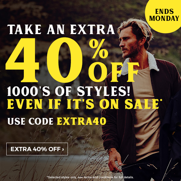Take an extra 40 percent off 1000'S of styles! Even if it's on sale* Use code EXTRA40. Shop Extra 40% Off >