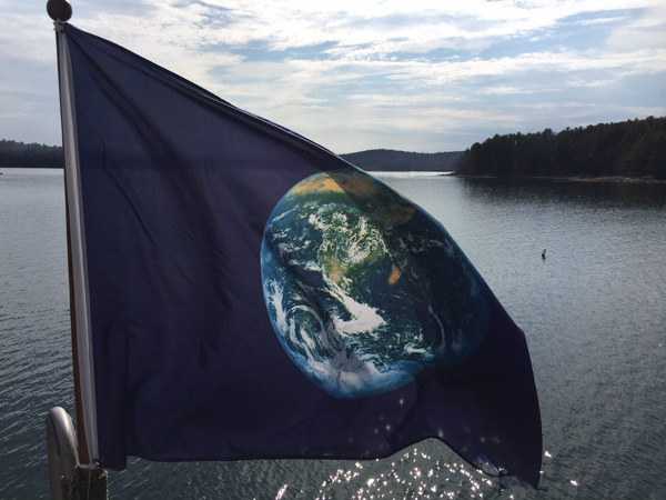 flag with picture of earth on it next to water