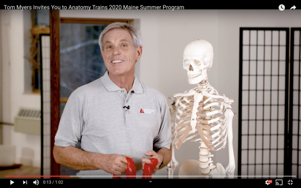 Video screenshot of Tom Myers with skeleton