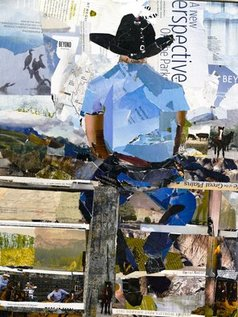 Caren Keyser - cowboy on a fence, 2020