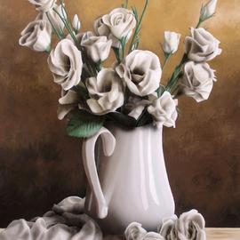 Ivan Pili - still life white roses, 2019