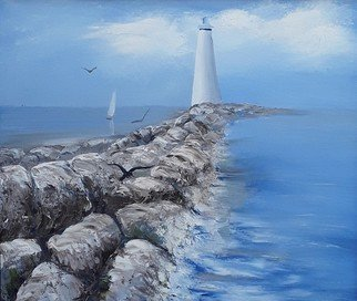 Lora Vannoord - lighthouse and sailboat, 2019
