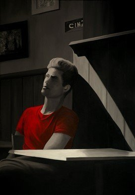 Peter Seminck - red tshirt waiting for her, 2019