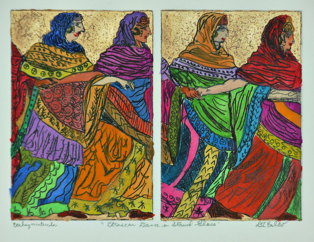 Jerry  Di Falco - eruscan dance in stained glass, 2020