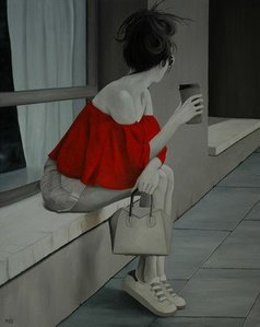 Peter Seminck - red blouse waiting for him, 2019