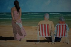 Peter Seminck - on the beach with mom and dad, 2020