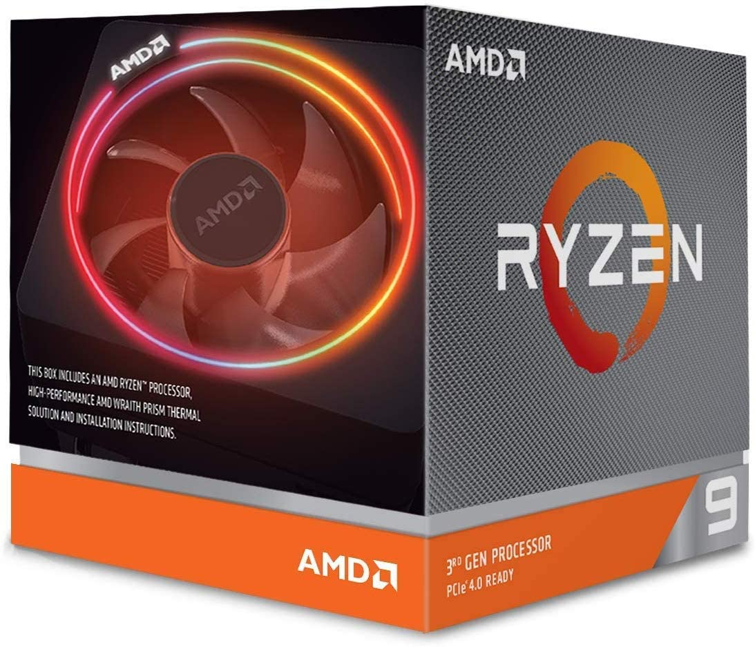 AMD Ryzen 9 3900X CPU with Wraith Prism cooler (7NM, 12/24 Cores/Threads, 3.8GHz Base, 4.6GHz Boost, Socket AM4, 105W TDP Desktop Processor), Model 100-100000023BOX