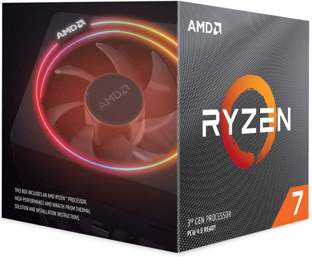 AMD Ryzen 7 3700X CPU with Wraith Prism cooler (7NM, 8/16 Cores/Threads, 3.6GHz Base, 4.4GHz Boost, Socket AM4, 65W TDP Desktop Processor), Model 100-100000071BOX
