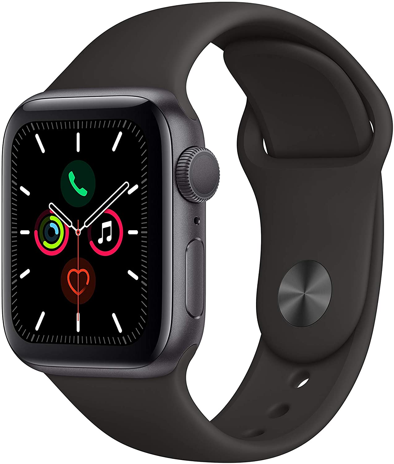 Apple Watch Series 5 GPS 40mm Space Gray Aluminum Case with Black Sport Band [MWV82LL]