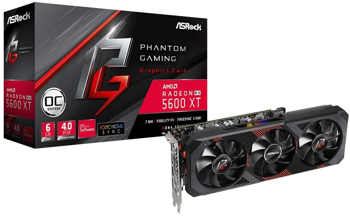 AsRock Radeon RX 5600 XT Graphics Card, (6GB GDDR6, Model Phantom Gaming D3 RX5600XT PGD3 6GO)