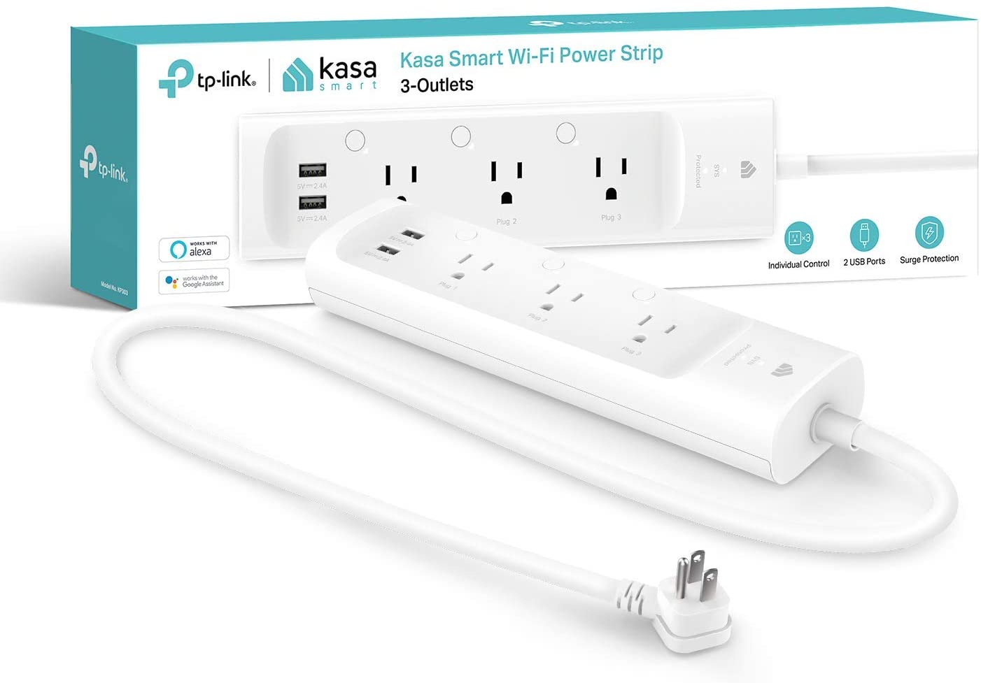 Kasa Smart Plug Power Strip, Surge Protector w/ 3 Smart Outlets and 2 USB Ports [KP303]