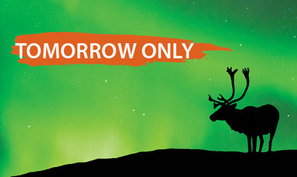 Tomorrow only message with caribou against northern lights