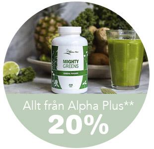 20% på Alpha Plus