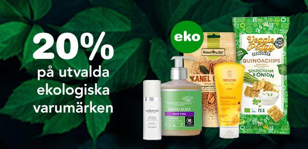 20% på utvalda ekologiska varumärken