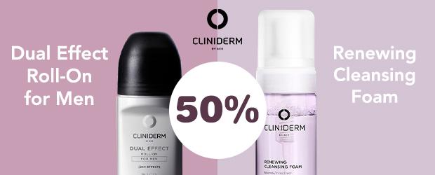 50% på utvalda produkter från Cliniderm