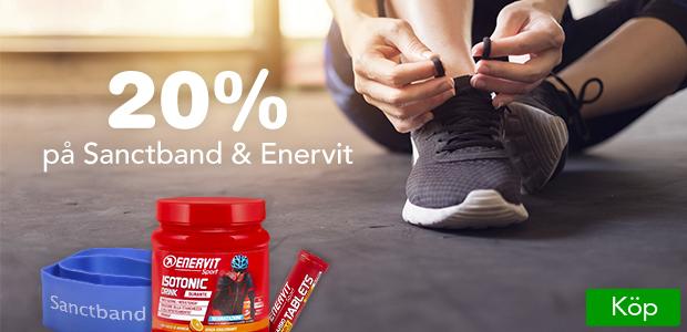 20% rabatt från både Sanctband och Enervit. Ladda inför höstens lopp och träning.