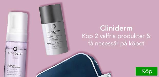 Köp 2 valfria produkter från Cliniderm och få necessär på köpet