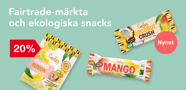 Fairtrade-märkta och ekologiska snacks