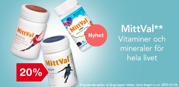 20% på MittVal** - Vitaminer och mineraler för hela livet