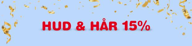 Fyll ditt badrumsskåp med produkter från Hud & Hår kategorin. Nu 15% på allt.