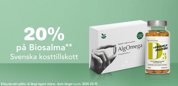 20 % på Biosalma** - Svenska kosttillskott