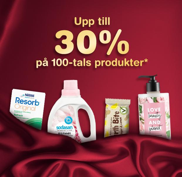 Upp till 30% på 100-tals produkter