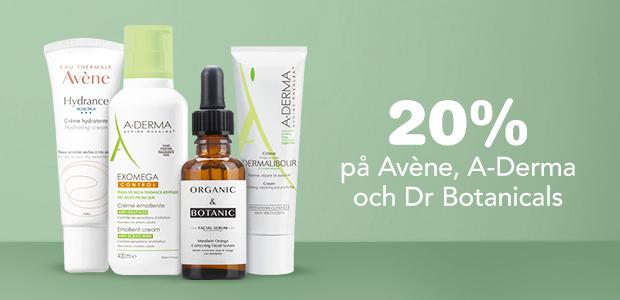 20% på Avène, A-Derma och Dr Botanicals