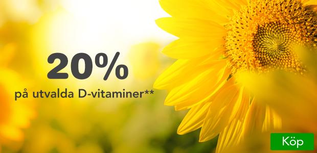 D-vitaminer inför höstmörkret. Nu 20% på utvalda D-vitaminer!