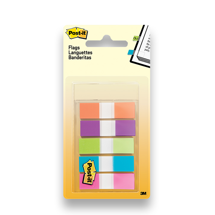 Post-it® Flags, Assorted Bright Colors, 1/2 in Wide