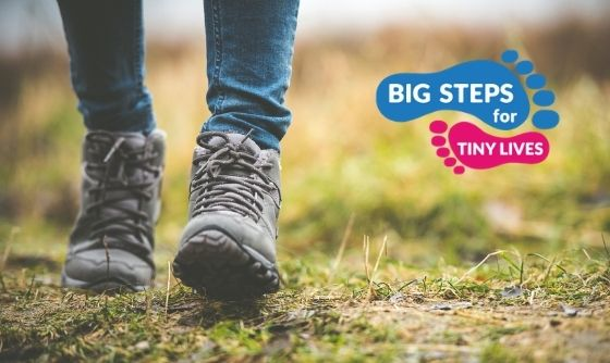 Big Steps for Tiny Lives image of woman in walking boots